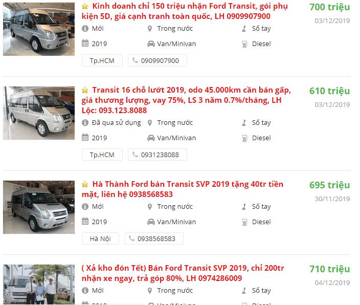 Báo giá xe ford transit mới nhất kèm đánh giá mẫu minibus này