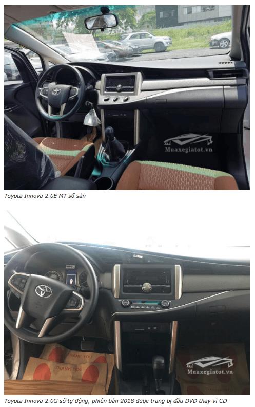 So sánh xe Toyota Innova E và G 2020 (Innova số sàn và tự động)
